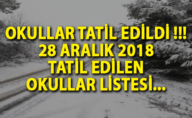 Hangi Okullar Tatil Edildi? Yarın Okullar Tatil Edildi! 28 Aralık 2018 Okul Tatili