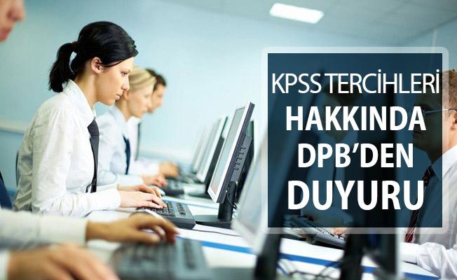 KPSS Tercihlerine İlişkin DPB'den Çok Önemli Açıklama
