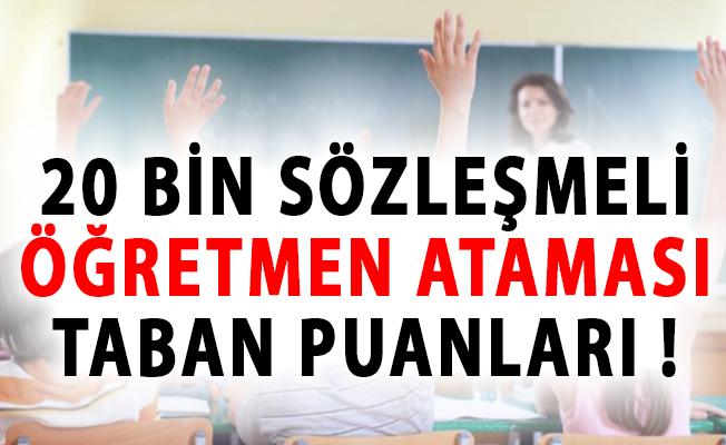 MEB 20 Bin Sözleşmeli Öğretmen Ataması Taban Puanları!