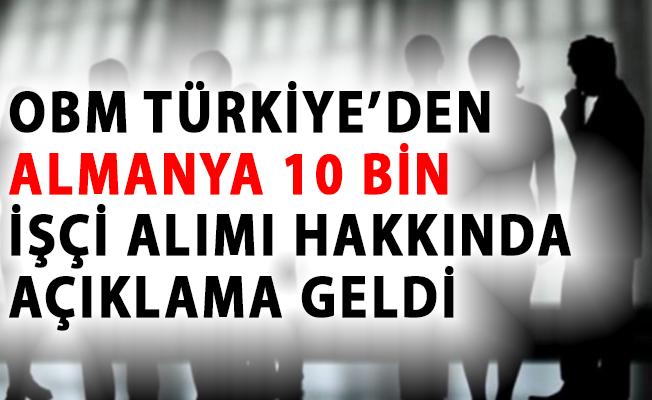 OBM Türkiye'den, Almanya'ya 10 Bin İşçi Alımı Hakkında Son Dakika Açıklaması Geldi!