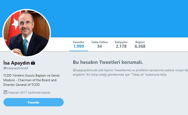 TCDD Genel Müdürü İsa Apaydın Twitter Hesabını Kapattı!