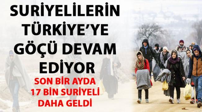 Türkiye'ye gelen Suriyeli sayısında büyük artış