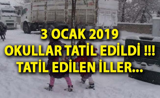 3 Ocak 2019 Okullar Tatil Edildi! Yarın Hangi İller Tatil? Okul Tatili