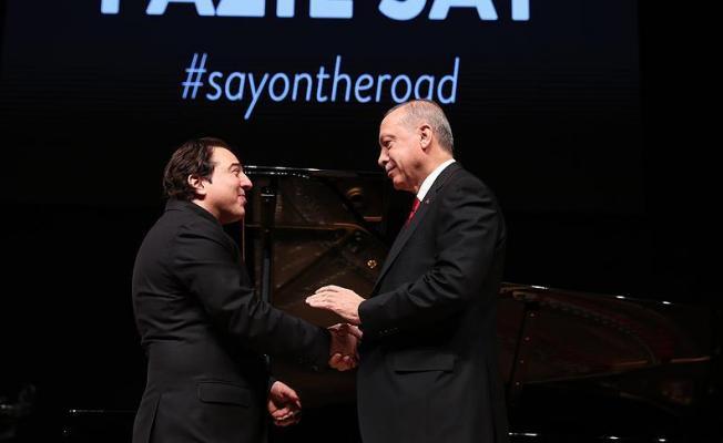 """Cumhurbaşkanı Erdoğan, Fazıl Say'ın """"Truva Sonatı"""" adlı eserinin prömiyerine katıldı"""