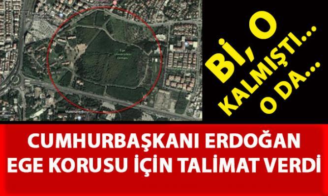 Ege Üniversitesi korusu hakkında Cumhurbaşkanı Erdoğan Talimat Verdi