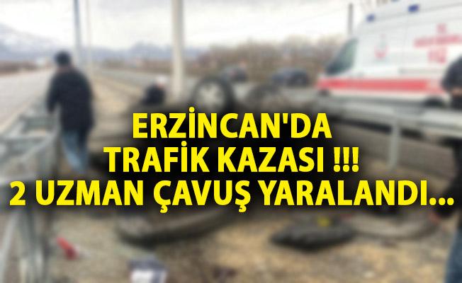 Erzincan'da Trafik Kazası! 2 Uzman Çavuş Yaralandı