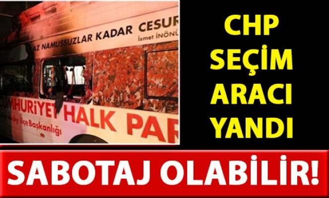 İstanbul'da, CHP seçim aracı yandı! Sabotaj Olabilir