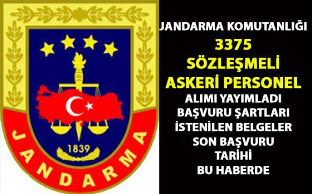 Jandarma komutalığı 3375 askeri personel alımı yapacak! Askeri personel başvuru şartları