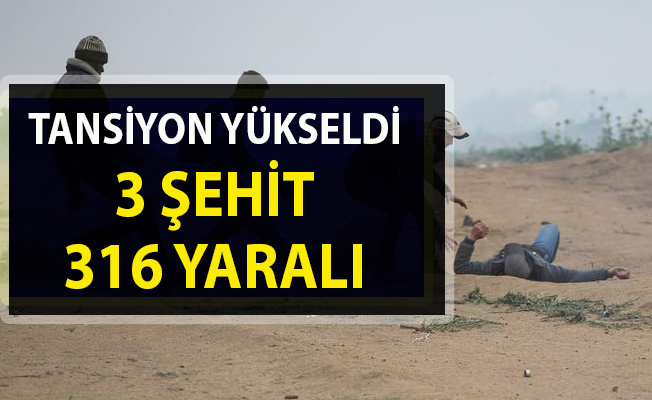 İsrail, Filistin halkına kurşun yağdırdı: 3 şehit, 316 yaralı