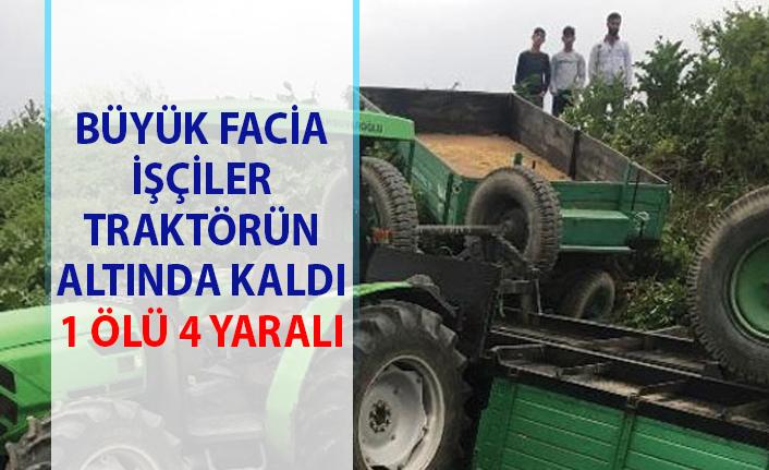 Bursa'nın Mustafakemalpaşa ilçesinde tarım işçileri traktör altında kaldı! 1 ölü 4 yaralı