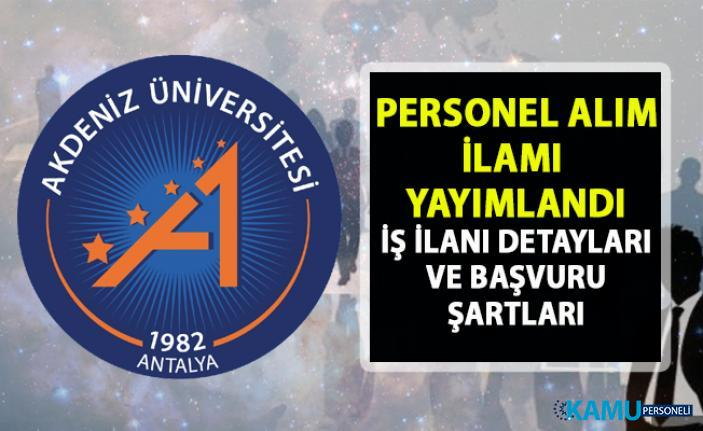 Akdeniz Üniversitesi akademik personel alımı ilanı! 18 öğretim görevlisi alımı yapılacaktır!.