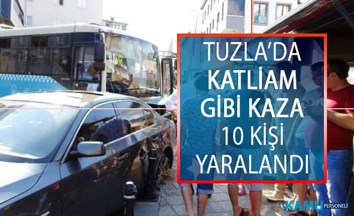 Tuzla'da Trafik Kazası! Tuzla'da Hafriyat Kamyonu Halk Otobüsüne Çarptı 10 Kişi Yaralandı!