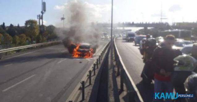 İstanbul'da trafik 1 saat durdu! Haliç Köprüsü'nde  araç cayır cayır yandı