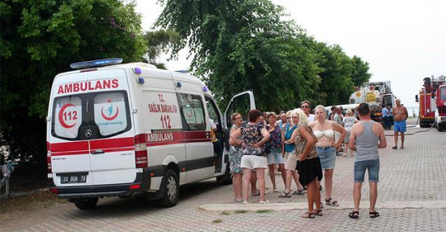 Mersin'de korkutan yangın! Belçikalı turistler şok geçirdi
