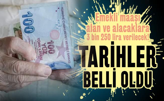 Emekli maaşı alanlar ve alacak olanlara 3 bin 250 lira verilecek! Tarihler belli oldu