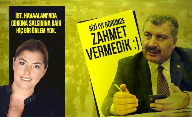 Şirin Payzın'ın Koronavirüs tepkisine Sağlık Bakanı Koca cevap verdi: Sizi iyi görünce zahmet vermedik :)