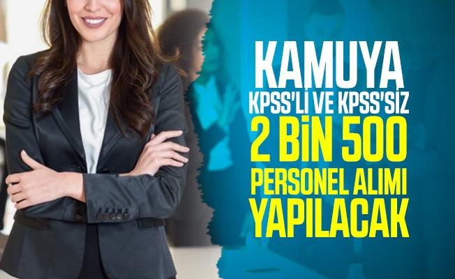Kamu kurumlarında istihdam edilmek üzere KPSS'li ve KPSS'siz 2 bin 500 personel alımı yapılacak!
