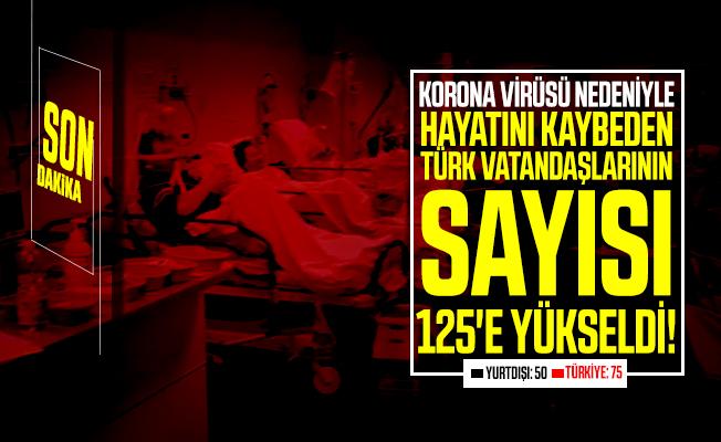 Korona virüsü nedeniyle hayatını kaybeden Türk vatandaşların sayısı 125'e yükseldi!