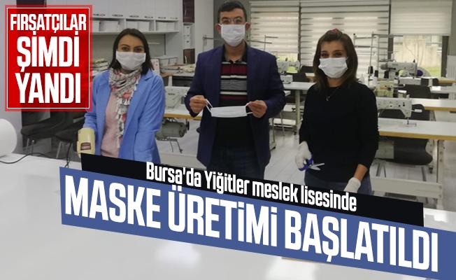 Maske fırsatçıları şimdi yandı! Bursa'da Yiğitler Mesleki ve Teknik Anadolu Lisesi maske üretmeye başladı