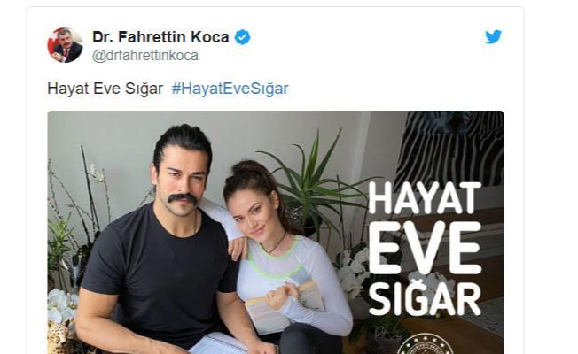 Sağlık Bakanı Fahrettin Koca'dan Burak Özçivit-Fahriye Evcen çifti ve Fazıl Say'a 'Evinde Kal' teşekkürü