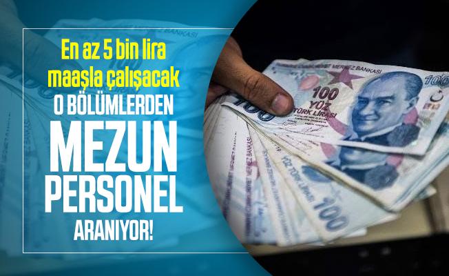 En az 5 bin lira maaşla çalışacak o bölümlerden mezun personel aranıyor!