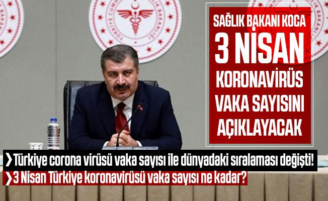 Türkiye corona virüsü vaka sayısı ile dünyadaki sıralaması değişti! 3 Nisan Türkiye koronavirüsü vaka sayısı ne kadar?
