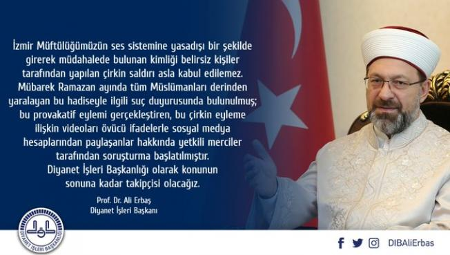 Diyanet İşleri Başkanı Erbaş cami hoparlörlerinden 'Çav Bella' çalınmasıyla ilgili açıklamalarda bulundu!
