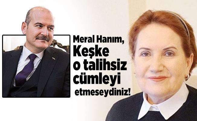 İçişleri Bakanı Soylu: Meral Hanım, Keşke o talihsiz cümleyi  etmeseydiniz!