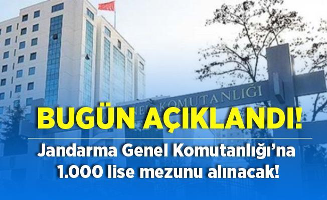 Jandarma Genel Komutanlığı'nda istihdam edilmek üzere lise mezunu 1000 kişi alınacak! Başvuru şartları bugün açıklandı!
