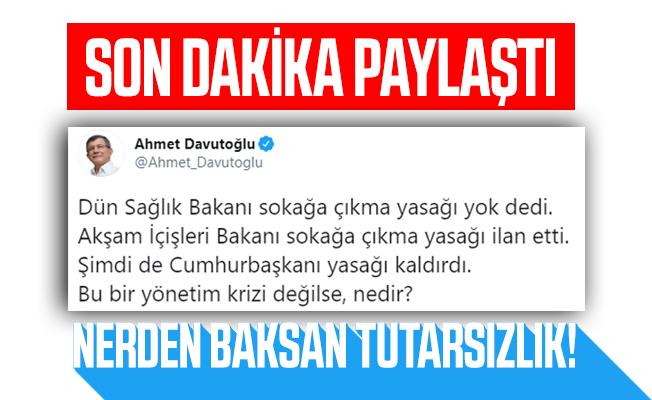 Son dakika Davutoğlu'ndan sokağa çıkma yasağı açıklaması!