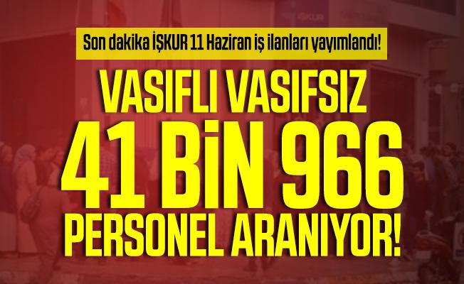Son dakika İŞKUR 11 Haziran iş ilanları yayımlandı! Vasıflı Vasıfsız 41 bin 966 personel aranıyor!