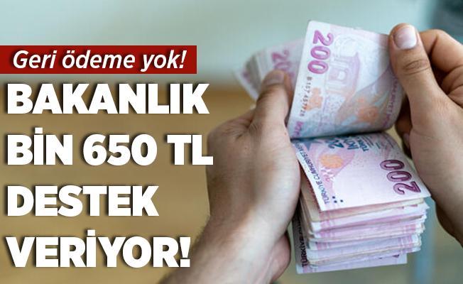 Bakanlık bin 650 TL nakit desteği veriyor! Geri ödeme yok!