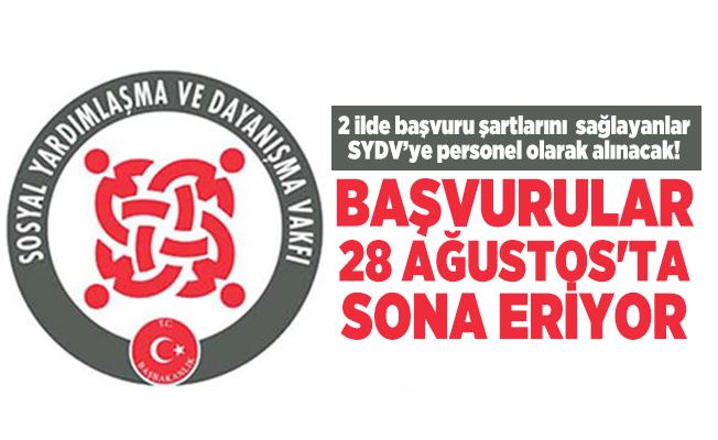 2 ilde SYDV personel alımı yapılacak! Başvurular 28 Ağustos'ta sona eriyor