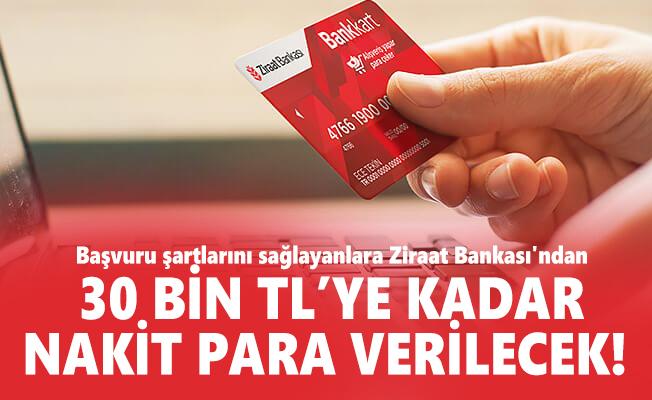 Başvuru şartlarını sağlayanlara Ziraat Bankası'ndan 30 bin TL'ye kadar nakit para verilecek!