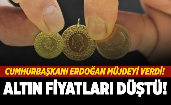Cumhurbaşkanı Erdoğan'ın müjdesi altın fiyatlarını düşürdü! Gram ve çeyrek altın fiyatları tepe taklak oldu!