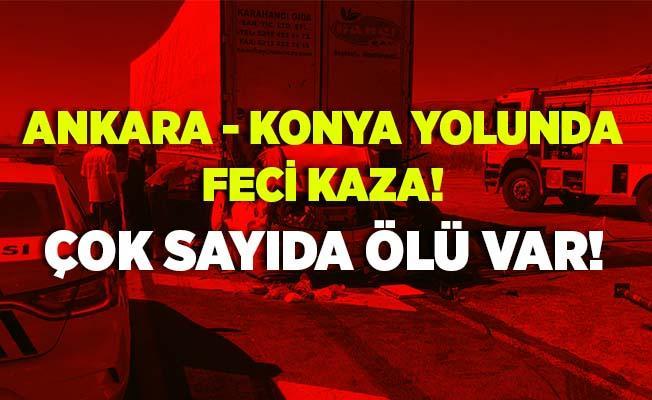 Hakkari'den sonra bir feci kaza Ankara - Konya yolunda meydana geldi! Park halindeki tıra arkadan çarptı! Çok sayıda ölü var!