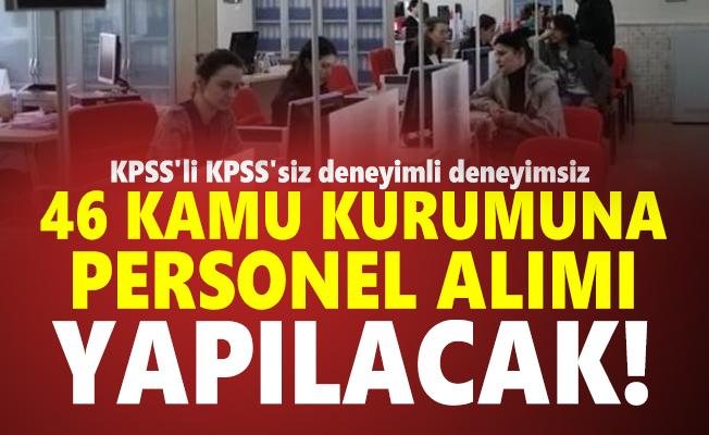 KPSS'li KPSS'siz deneyimli deneyimsiz 46 kamu kurumuna personel alımı yapılacak!