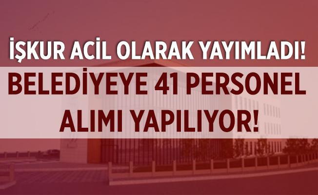 İŞKUR acil olarak yayımladı! Belediyeye 41 personel alımı yapılacak! Başvurular 15 Eylül'de!