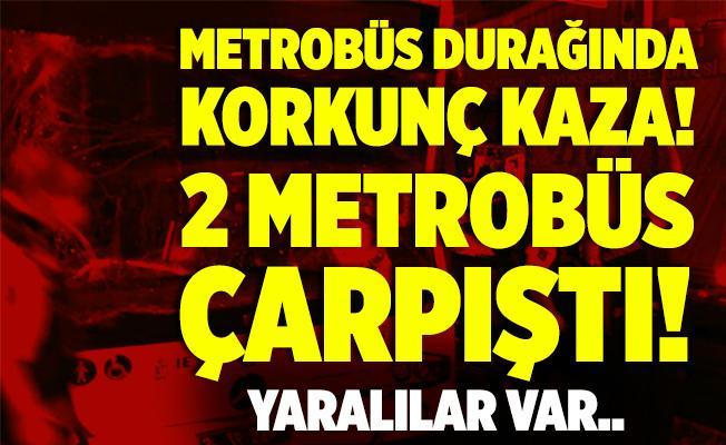 Merter metrobüs durağında korkunç kaza! 2 metrobüs çapıştı! Yaralılar var..