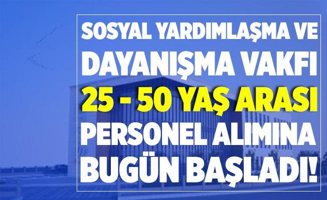 SYDV 25 - 50 yaş arası personel alımı yapıyor! Başvurular bugün başladı!