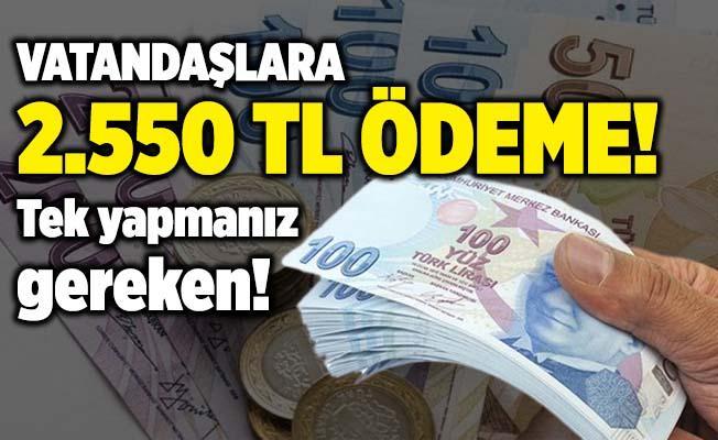 Vatandaşlara 2.550 TL'ye varan nakit ödeme!