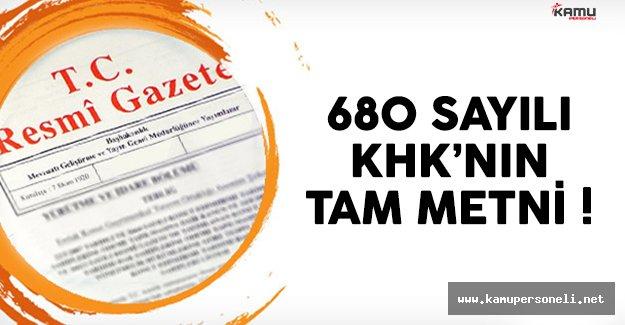 680 sayılı Kanun Hükmünnde Kararname'nin (KHK) tam metni