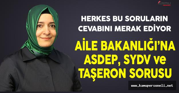Aile Bakanlığı'na ASDEP, SYDV ve Taşeron Sorusu