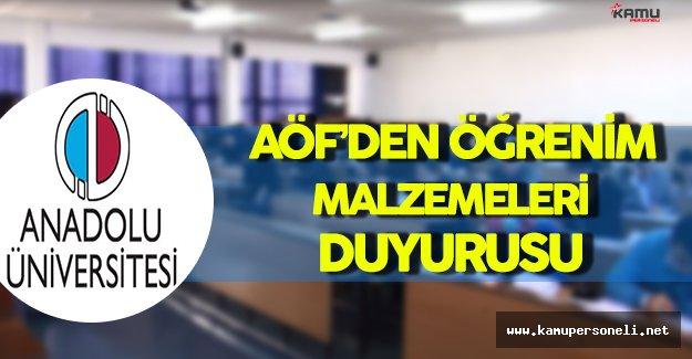 Anadolu Üniversitesi AÖF'den Öğrencilere Temel Öğrenme Malzemeleri Duyurusu