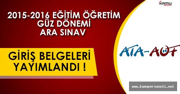 ATA AÖF 2016-2017 Güz Dönemi Sınav Giriş Belgeleri Yayımlandı!