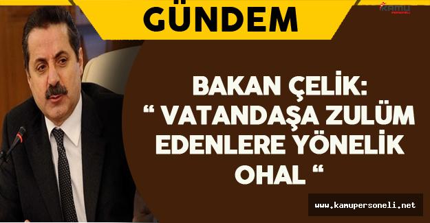 """Bakan Çelik: """" Vatandaşa Zulüm Edenlere Yönelik OHAL """""""