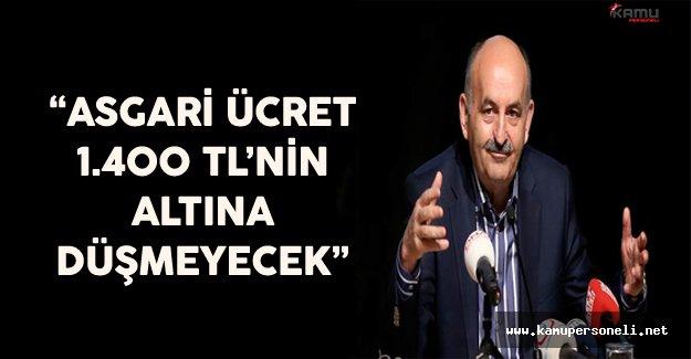 """Bakan Müezzinoğlu """"Asgari Ücret Bin 400 TL'nin Altına Düşmeyecek"""""""