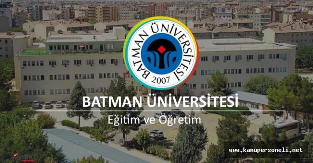 Batman Üniversitesi Akademik Personel Alımı İlanı