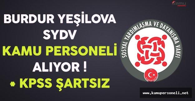 Burdur Yeşilova SYDV Kamu Personeli Alıyor
