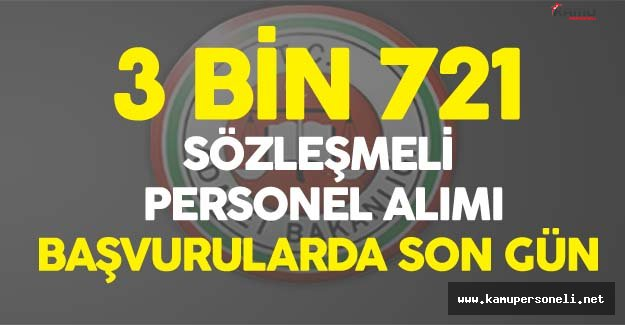 DİKKAT! Adalet Bakanlığı 3 Bin 721 Sözleşmeli Personel Alımı için Başvurularda Son Gün